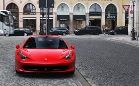 Картинка красный, город, Ferrari, supercar, феррари, 458, Italia