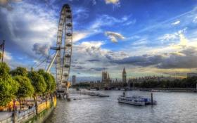 Обои облака, река, небо, Темза, люди, Лондон, деревья