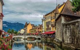 Обои небо, облака, горы, мост, люди, Франция, канал