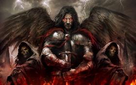 Картинка огонь, еретик, горящие глаза, латы, меч, кровь, нежить