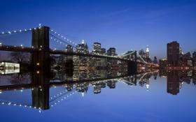 Картинка ночь, мост, город, отражение, река, дома