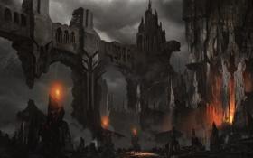 Обои огонь, камни, скалы, фэнтези, замок, факелы, арт