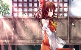 Обои листья, девушка, улыбка, наслаждение, ветер, touhou, art