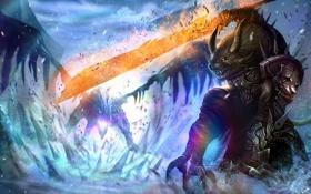 Обои холод, магия, дракон, меч, арт, рога, битва