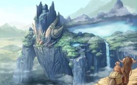 Обои лес, горы, озеро, арт, чудище