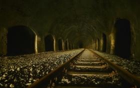 Обои город, туннель, железная дорога