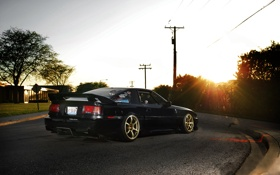 Обои солнце, улица, тюнинг, Toyota, black, блик, Supra