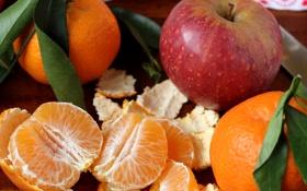 Обои мандарины, фрукты, яблоко