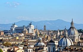 Картинка небо, горы, дома, крыши, купол, италия, рим