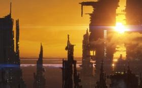 Картинка закат, город, будущее, небоскребы, арт, мегаполис