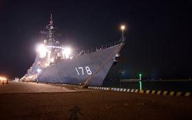Обои огни, вечер, причал, военный корабль