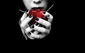 Обои Apple, red, woman, hands, nails
