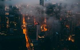 Картинка ночь, вид, Чикаго
