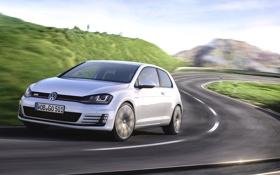 Картинка Авто, Дорога, Белый, Volkswagen, Машина, Асфальт, Фары