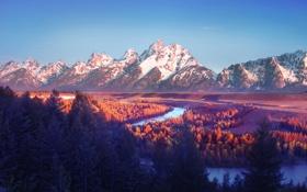 Картинка осень, лес, небо, облака, горы, река
