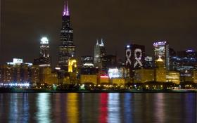 Обои ночь, город, Чикаго, США, Иллиноис, панопамма