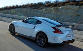 Обои дорога, блики, скорость, Nissan, 370Z, Nismo