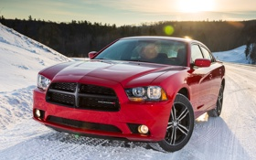 Обои машина, солнце, снег, Dodge, додж, Charger, передок
