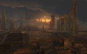 Картинка город, будущее, арт, постройки, phoenix rising, Plate projects