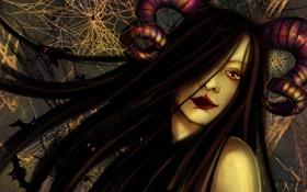 Обои девушка, лицо, волосы, рога, minerva, лежащая