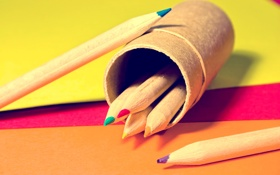 Обои макро, краски, colors, карандаши, листки, macro, papers