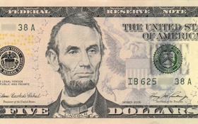 Обои Lincoln, note, five, dollar, united, reserve, federal dolar