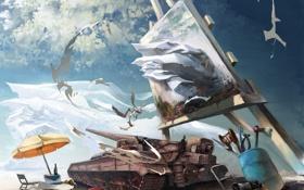 Обои небо, фатазия, картина, зонт, художник, мольберт, атр