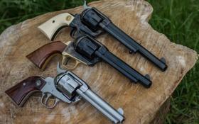 Обои оружие, стволы, пень, револьверы