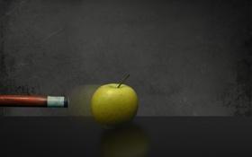 Картинка движение, кий, яблоко