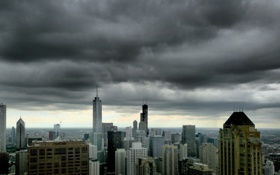 Обои тучи, город, небоскребы, чикаго, высотки, chicago