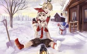 Обои зима, снег, музыка, праздник, игра, новый год, аниме