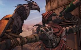 Обои птица, бутылка, Охотник, 2K Games, Borderlands 2, Gearbox Software, Mordecai