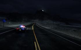 Обои машина, ночь, трасса, полиция, need for speed, nfs, hot pursuit