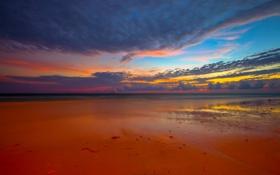 Картинка море, небо, облака, закат, берег, отлив, зарево