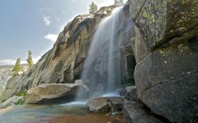 Картинка горы, скалы, водопад, США, Yosemite National Park, Сьерра-Невада