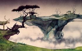 Картинка животные, деревья, земля, арт