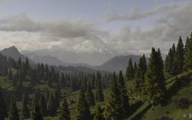 Обои лес, горы, тучи, природа, холмы, вид, арт