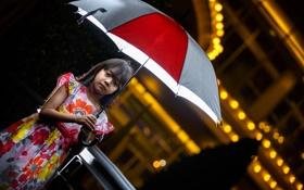 Обои настроение, зонт, девочка