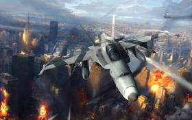 Картинка город, огонь, арт, самолеты, истребители, разрушение, нападение