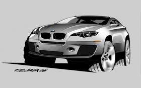 Обои рисунок, BMW, карандаш