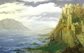 Обои замок, город, Castle Alexandria, арт, горы, море, скала
