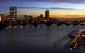 Обои закат, город, Massachusetts, бостон, Boston, Массачусетс, Sunset