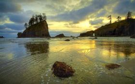 Картинка закат, камни, скалы, остров, Море