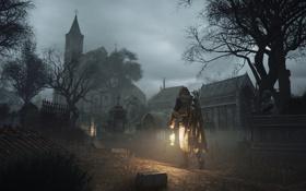 Обои кладбище, церковь, здание, Assassin's Creed Unity, ночь
