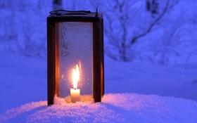 Картинка зима, свет, снег, ночь, свеча, фонарь, winter