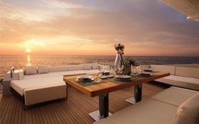Обои море, стол, вечер, яхта, палуба, ужин