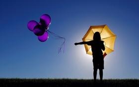 Картинка свет, настроение, шары, зонт