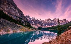 Картинка деревья, горы, озеро, камни, скалы, Banff National Park, Alberta
