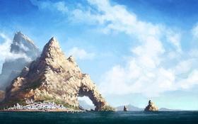 Обои море, вода, облака, пейзаж, город, скалы, рисунок