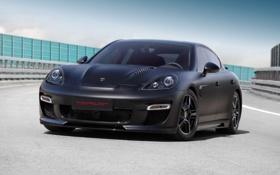 Обои черный, panamera, фары, Porsche, topcar